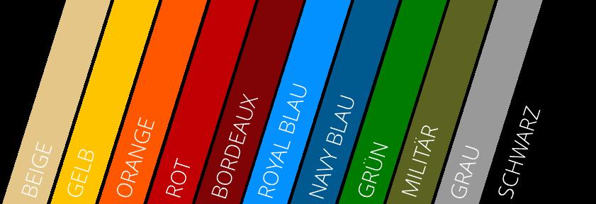 Farbpalette - verfügbare Farben für Faltzelt